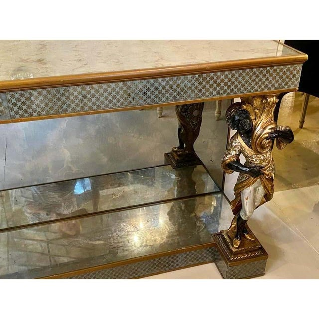 Wood Hollywood Regency Jansen Figural & Églomisé Console Table, Sofa/Sideboard Table For Sale - Image 7 of 13