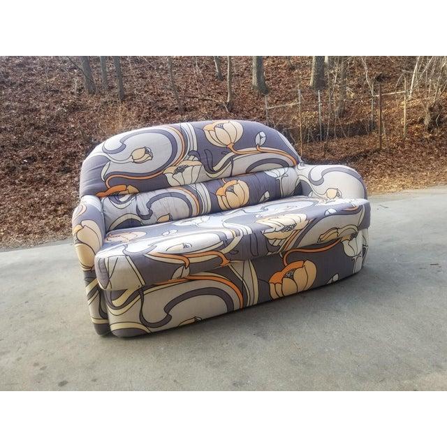 Fabric 1960s Vintage Milo Baughman Art Nouveau Tub Loveseat For Sale - Image 7 of 12