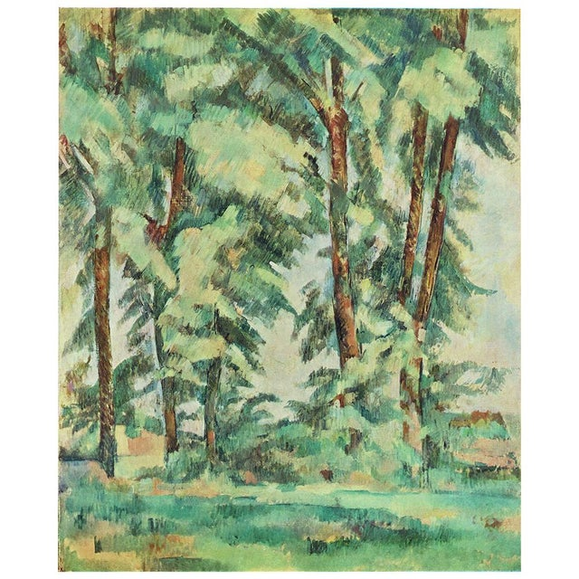 A stunning large, rare vintage plate after Big Trees at le Jas Bouffan (1885-1887) painting by Paul Cezanne from the...