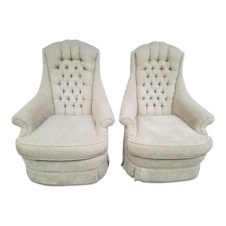 Velour Tufted High Back Custom Fireside Chairs With Casters - A Pair
