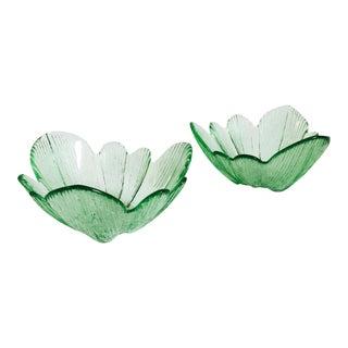 Vintage Green Pressed Glass Flower Bowls - Set of 2