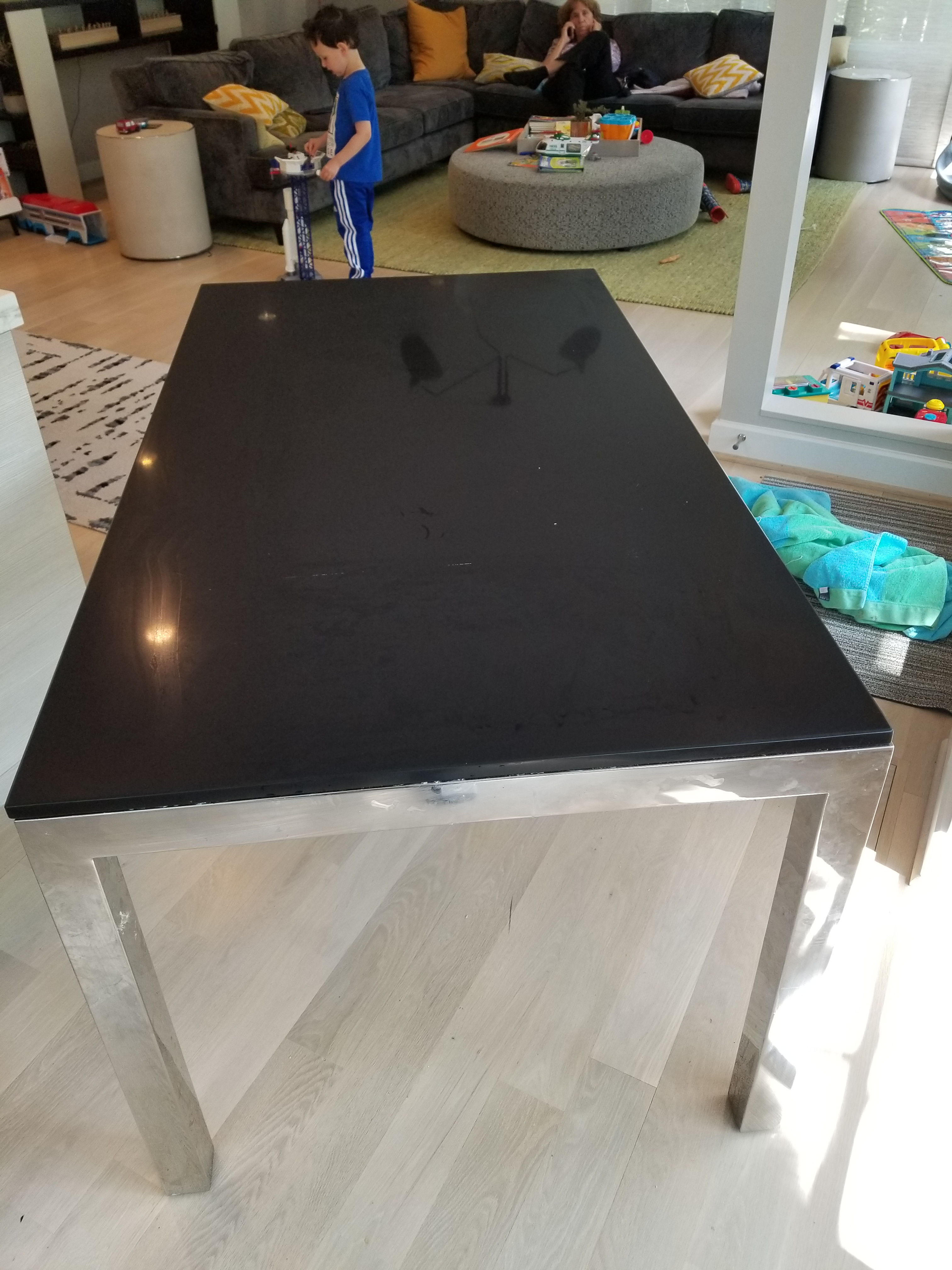 Mitchell Gold + Bob Williams Mitchell + Gold Black Quartz Top Dining Table  For Sale