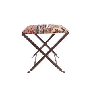 Rug Fragment Footstool For Sale