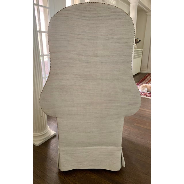 Light Blue Linen Custom Hooded Porters Canopy Chair For Sale In New York - Image 6 of 8