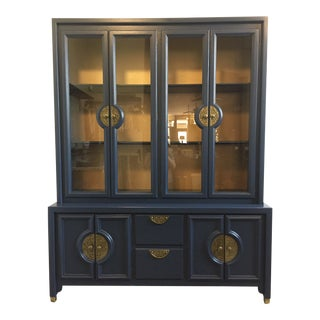 Navy Blue Mid-Century Hutch For Sale
