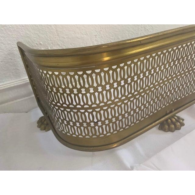 Vintage Brass Claw Foot Fireplace Fender For Sale In Denver - Image 6 of 13