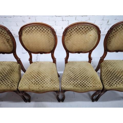 Green Set of 5 Vintage French Louis XV Style Carved Oak Balloon Back Dining Side Chairs For Sale - Image 8 of 13