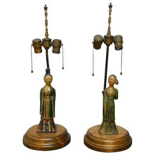 Tang Pottery Figures Mounted as Table Lamps - A Pair For Sale