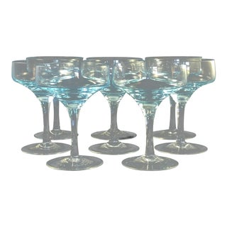1950's Art Deco Crystal Champagne Coupes / Saucers - Set of 8 For Sale