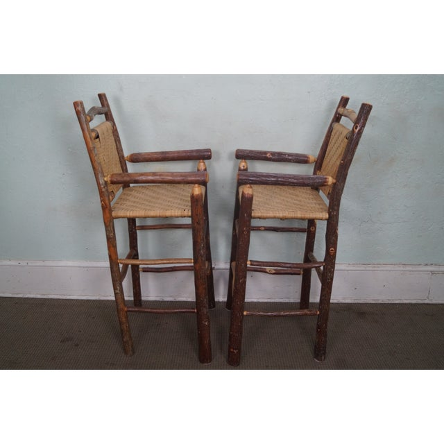 Old Hickory Rustic Barstools - Set of 3 - Image 8 of 10