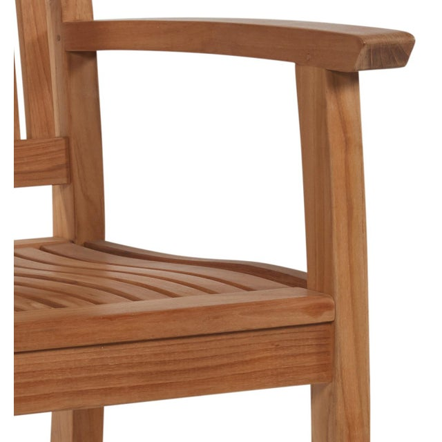 Contemporary Buckingham Teak Wood Outdoor Dining Armchair For Sale - Image 3 of 4