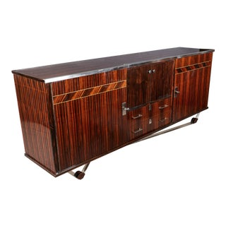 Original French Modern Macassar Ebony Credenza With Nickeled Bronze Mounts For Sale