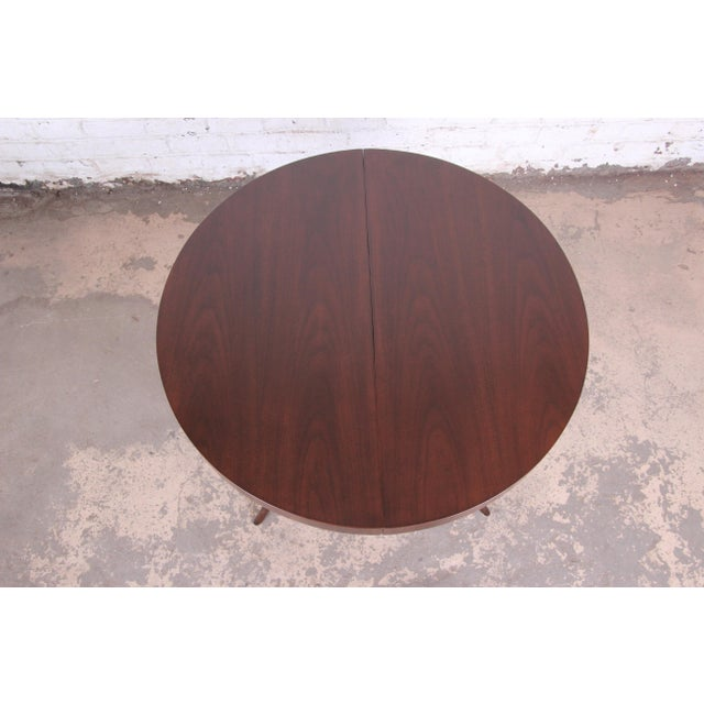 Robsjohn-Gibbings for Widdicomb Mid-Century Modern Walnut Saber Leg Extension Dining Table, Newly Restored For Sale - Image 11 of 13