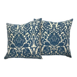 French Le Manach Lampas Pillows in Blue and Ecru - a Pair For Sale