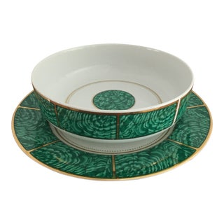 George's Briard Vintage Malachite Serving Bowl and Plate For Sale