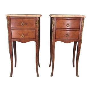French Louis XV Marble-Top Nightstands -A Pair For Sale
