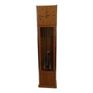 Vintage Mid Century Modern Oak and Chrome Pendulum Grandfather Clock For Sale