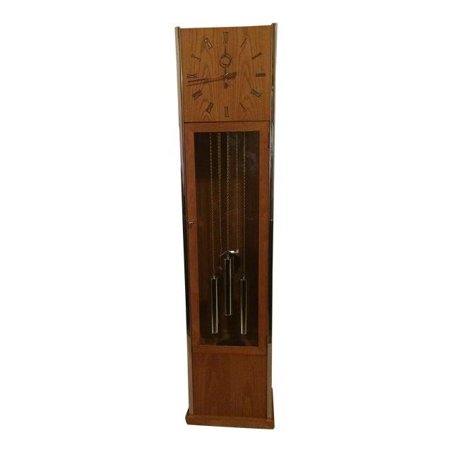 Vintage Mid Century Modern Oak and Chrome Pendulum Grandfather Clock For Sale