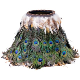 Mid-Century Handmade Peacock Lamp Shade