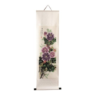 Floral Chinoiserie Silk Scroll Painting Peony Blossom For Sale