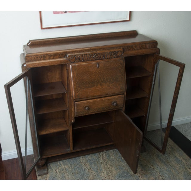 Antique Drop Front Side By Secretary Desk Entryway Accent Cabinet