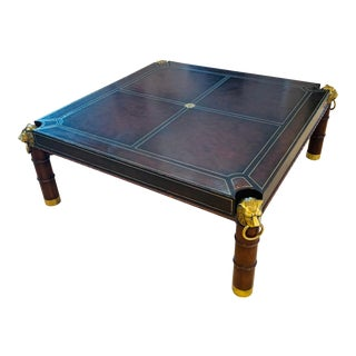 Maitland Smith Leather Wrapped Mahogany Coffee Table For Sale