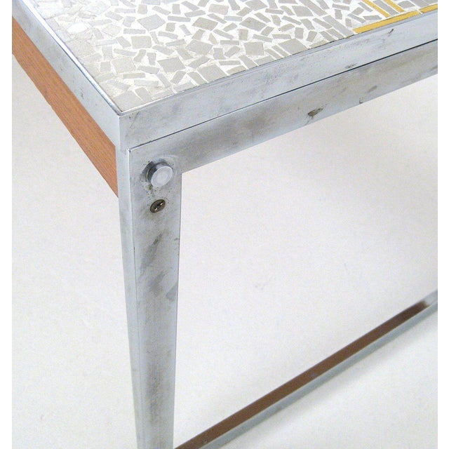 1960s Mid-Century Modern Chrome and Mosaic Coffee Table For Sale - Image 4 of 10