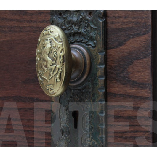 Antique Brass Rampant Lion Door Knobs - a Pair For Sale In Chicago - Image 6 of 6