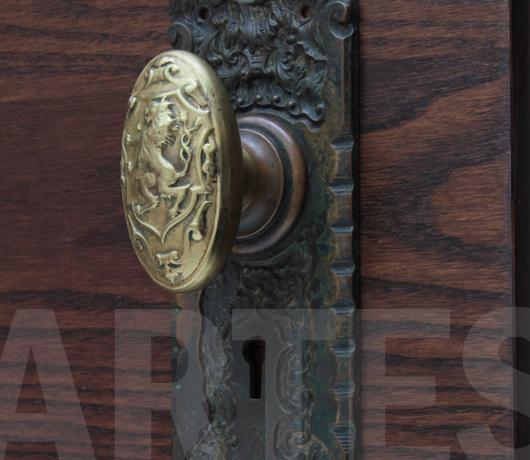 Antique Brass Rampant Lion Door Knobs   A Pair   Image 6 Of 6