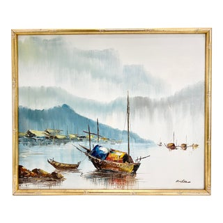 Mid Century Signed Harbor Scene Oil on Canvas Painting - 24x20 For Sale