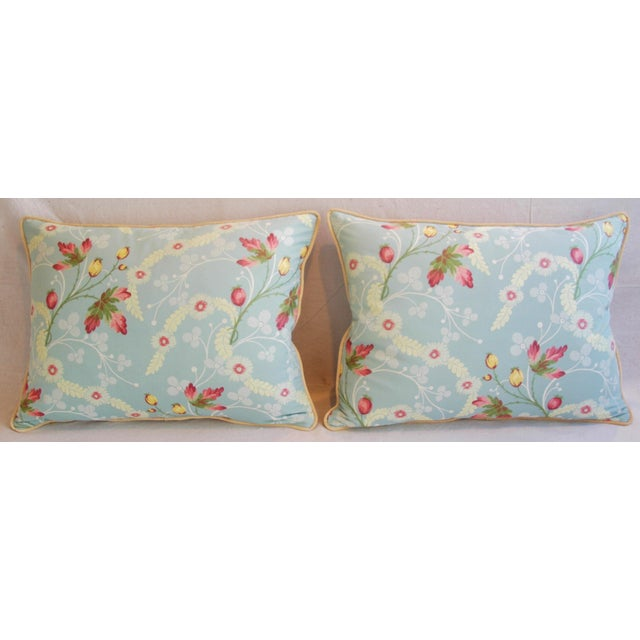 Powder Blue Scalamandré Floral Brocade Pillows - A Pair - Image 3 of 11
