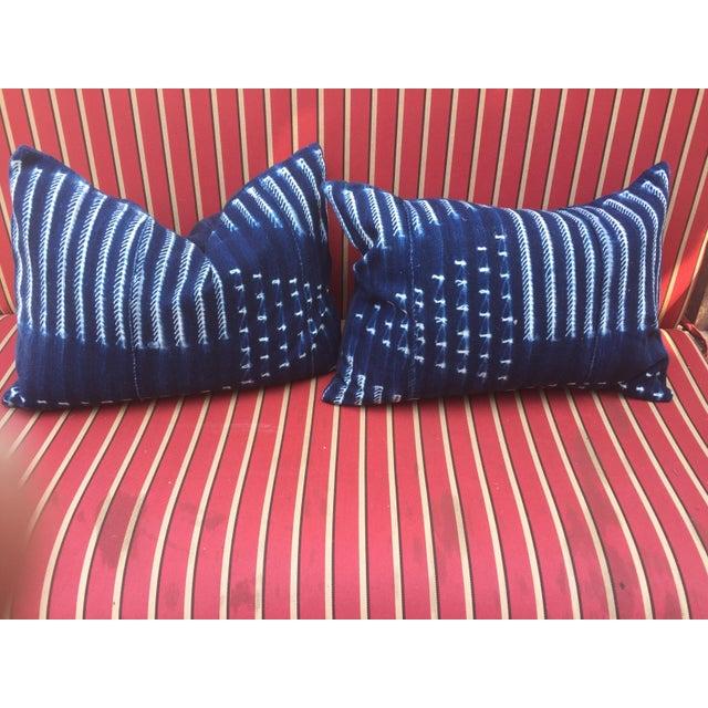 Mud Cloth Pillows Indigo - A Pair - Image 2 of 4