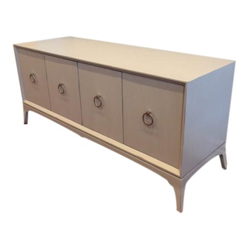Light Grey 4-Door Wood Credenza - Image 1 of 5