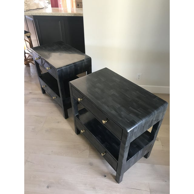 Mid-Century Modern Yaren Double Faux Horn Nightstands-A Pair For Sale - Image 3 of 13