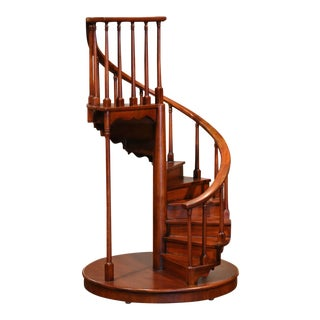 Mid-Century English Carved Mahogany Miniature Circular Stair Model For Sale