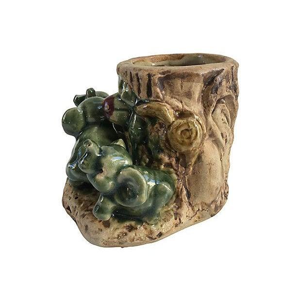 Vintage Majolica Elephants Vase Chairish