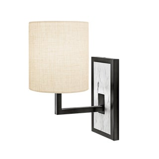 Black Bronze Wall Light With Stone Backplate For Sale