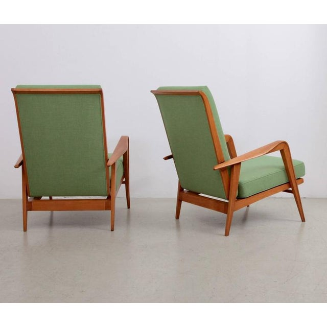 Henri Martin Pair of New Upholstered Etienne Henri Martin Lounge Chairs For Sale - Image 4 of 6