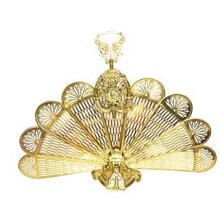 Vintage Neoclassical Style Gold Tone Brass Folding Fan Fireplace Screen For Sale