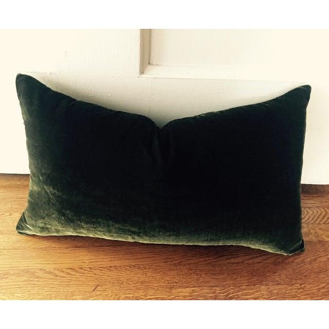 Moss Green Silk Velvet Lumbar Pillow Cover For Sale - Image 10 of 10