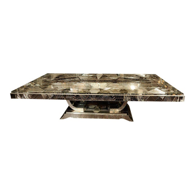 French Art Deco Style Mirrored Table For Sale