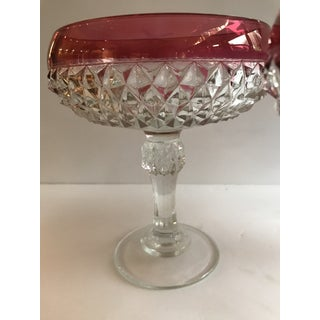 1960s Vintage Ruby Red Flash Diamond Point Dishes by Indiana Glass - Set of 3 Preview