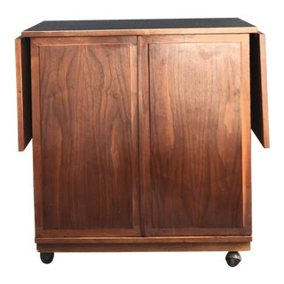 1950s Mid Century Solid Walnut Bar Cart For Sale