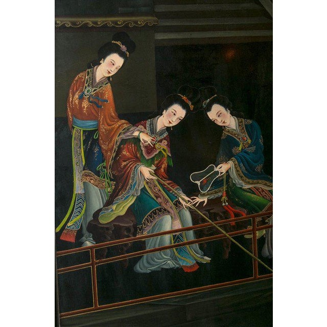 1930s Chinese Lacquered Six-Panel Screen For Sale - Image 4 of 8