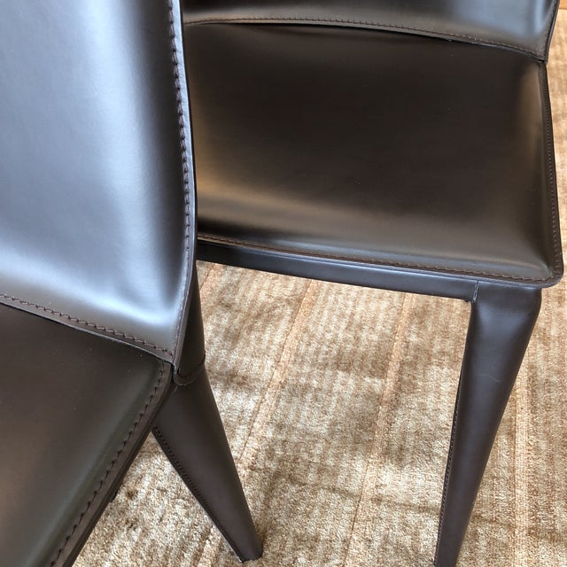 Design Within Reach Bottega Leather Dining Chairs - Set of 12 - Image 9 of 11