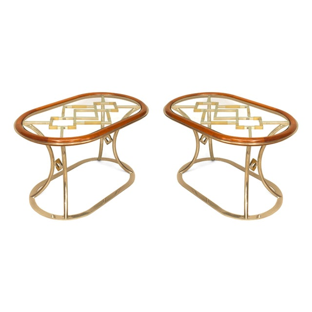 Maison Jansen Pair of Fabulous Brass Oval Coffee Tables, by Alain Delon for Maison Jansen For Sale - Image 4 of 4