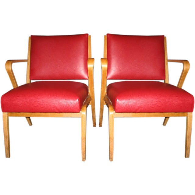 German Red Patent Leather Chairs - Pair - Image 1 of 5