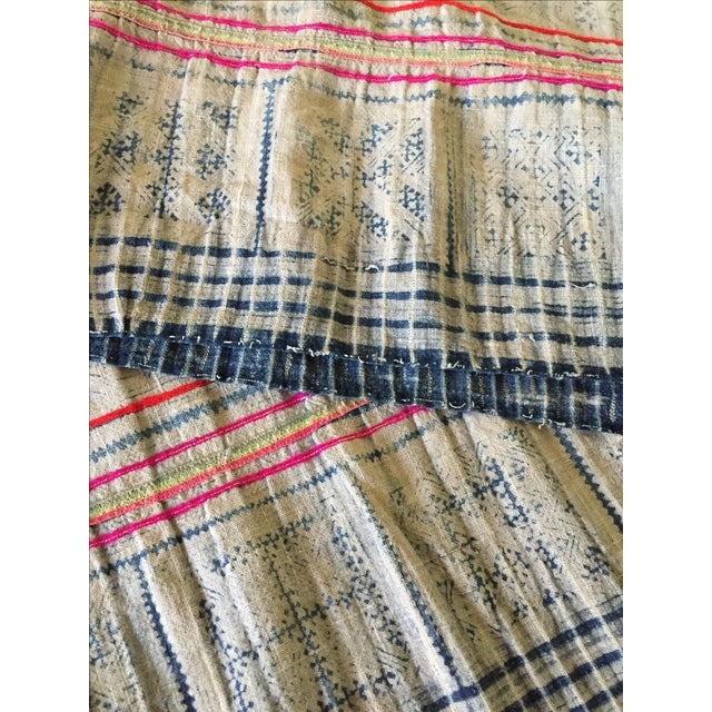 Vintage Batik Hmong Textile Hemp Indigo Runner - Image 6 of 6