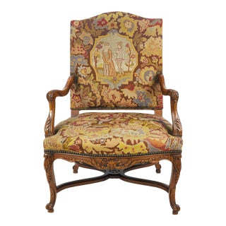 Antique French Louis XV Carved Walnut & Petite Point Fauteuil Arm Chair For Sale