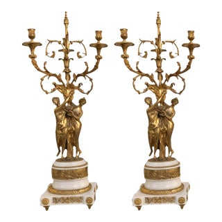 Louis XVI Style Bronze & Marble Figural Candelabras - a Pair For Sale